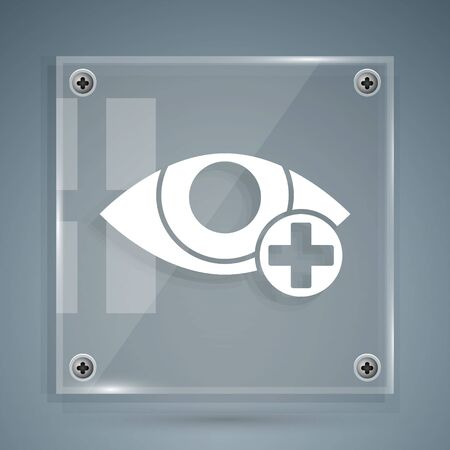 White Red eye effect icon isolated on grey background. Eye redness sign. Inflammatory disease of eyes. Square glass panels. Vector Illustration