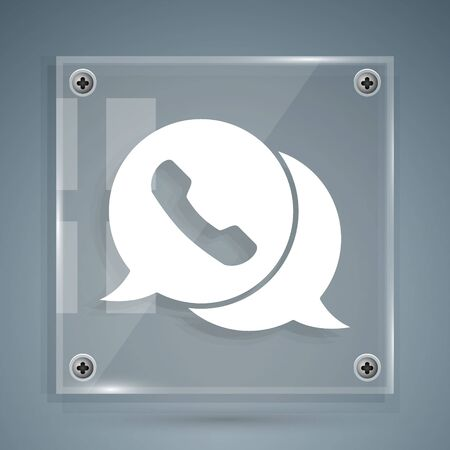 White Telephone with speech bubble chat icon isolated on grey background. Support customer service, hotline, call center, faq. Square glass panels. Vector Illustration