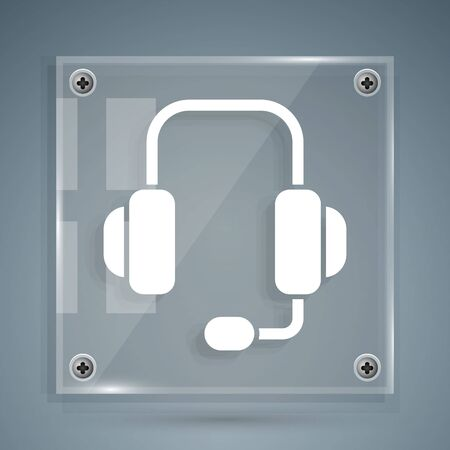 White Headphones icon isolated on grey background. Support customer service, hotline, call center, faq, maintenance. Square glass panels. Vector Illustration Vettoriali