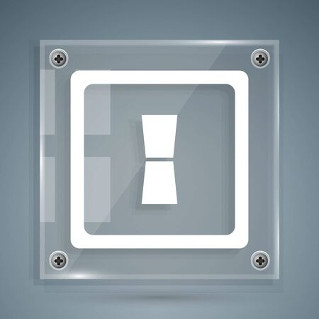 White Electric light switch icon isolated on grey background. On and Off icon. Dimmer light switch sign. Concept of energy saving. Square glass panels. Vector Illustration