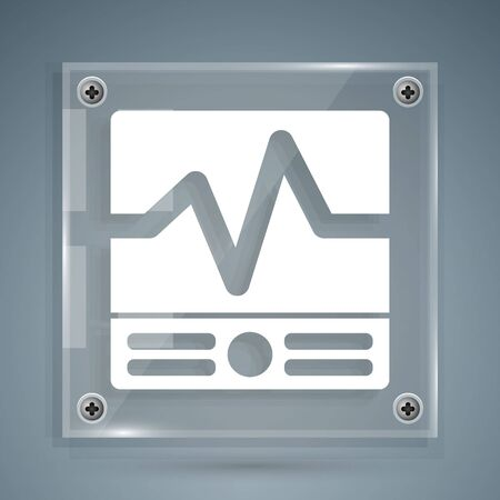 White Electrical measuring instruments icon isolated on grey background. Analog devices. Electrical appliances. Square glass panels. Vector Illustration