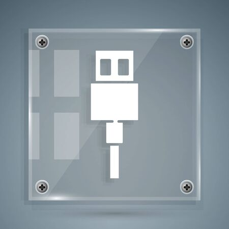 White USB cable cord icon isolated on grey background. Connectors and sockets for PC and mobile devices. Square glass panels. Vector Illustration