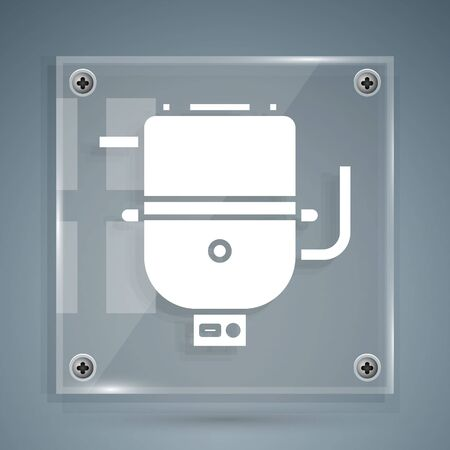 White Electric boiler for heating water icon isolated on grey background. Square glass panels. Vector Illustration