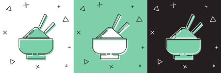 Set Rice in a bowl with chopstick icon isolated on white and green, black background. Traditional Asian food. Vector Illustration  イラスト・ベクター素材