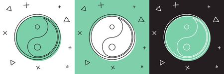 Set Yin Yang symbol of harmony and balance icon isolated on white and green, black background. Vector Illustration