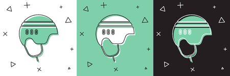 Set Hockey helmet icon isolated on white and green, black background. Vector Illustration