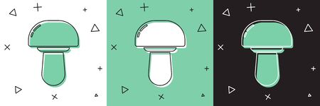 Set Mushroom icon isolated on white and green, black background. Vector Illustration