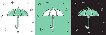 Set Classic elegant opened umbrella icon isolated on white and green, black background. Rain protection symbol.  Vector Illustration Ilustracja