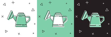 Set Watering can icon isolated on white and green, black background. Irrigation symbol.  Vector Illustration Ilustracja