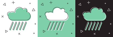 Set Cloud with rain icon isolated on white and green, black background. Rain cloud precipitation with rain drops.  Vector Illustration
