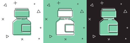 Set Paint, gouache, jar, dye icon isolated on white and green, black background. Vector Illustration