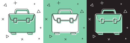 Set Briefcase icon isolated on white and green, black background. Business case sign. Business portfolio.  Vector Illustration