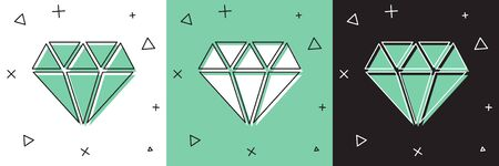 Set Diamond icon isolated on white and green, black background. Jewelry symbol. Gem stone.  Vector Illustration