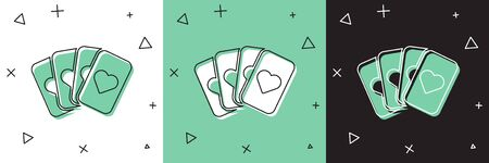 Set Deck of playing cards icon isolated on white and green, black background. Casino gambling. Vector Illustration