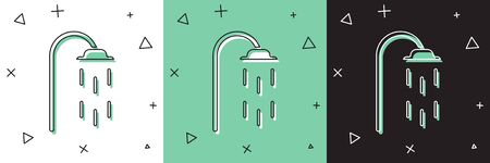 Set Shower head with water drops flowing icon isolated on white and green, black background.  Vector Illustration 向量圖像