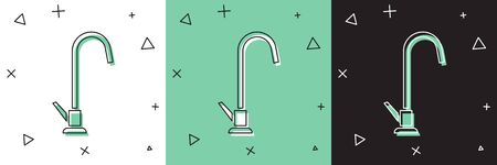 Set Water tap icon isolated on white and green, black background.  Vector Illustration