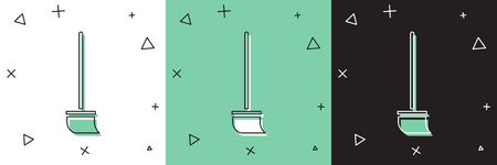 Set Mop icon isolated on white and green, black background. Cleaning service concept.  Vector Illustration