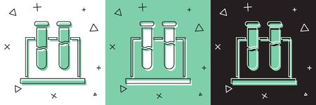 Set Test tube and flask chemical laboratory test icon isolated on white and green, black background. Laboratory glassware sign.  Vector Illustration  イラスト・ベクター素材