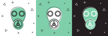 Set Gas mask icon isolated on white and green, black background. Respirator sign. Vector Illustration