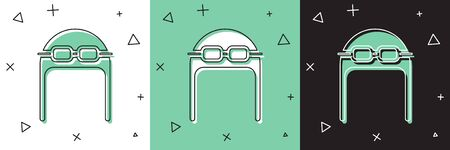 Set Aviator hat with goggles icon isolated on white and green, black background. Pilot hat. Vector Illustration