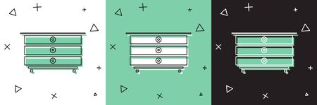 Set Chest of drawers icon isolated on white and green, black background.  Vector Illustration Ilustracja