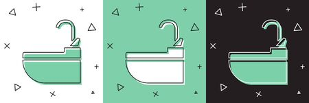 Set Washbasin with water tap icon isolated on white and green, black background. Vector Illustration