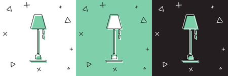 Set Floor lamp icon isolated on white and green, black background.  Vector Illustration