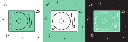 Set Vinyl player with a vinyl disk icon isolated on white and green, black background.  Vector Illustration