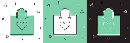 Set Shopping bag with heart icon isolated on white and green, black background. Shopping bag shop love like heart icon. Valentines day symbol.  Vector Illustration Ilustracja