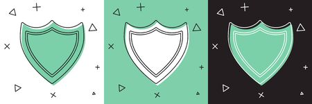 Set Shield icon isolated on white and green, black background. Guard sign. Security, safety, protection, privacy concept.  Vector Illustration