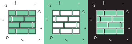 Set Bricks icon isolated on white and green, black background.  Vector Illustration