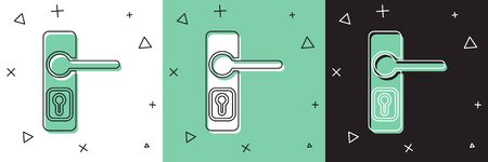 Set Door handle icon isolated on white and green, black background. Door lock sign. Vector Illustration
