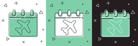 Set Travel planning calendar and airplane icon isolated on white and green, black background. A planned holiday trip.  Vector Illustration
