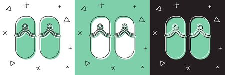Set Flip flops icon isolated on white and green, black background. Beach slippers sign. Vector Illustration