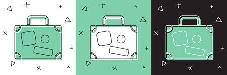 Set Suitcase for travel icon isolated on white and green, black background. Traveling baggage sign. Travel luggage icon.  Vector Illustration