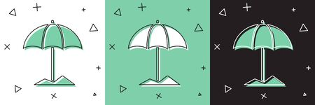 Set Sun protective umbrella for beach icon isolated on white and green, black background. Large parasol for outdoor space. Beach umbrella. Vector Illustration