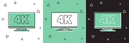 Set Screen tv with 4k Ultra HD video technology icon isolated on white and green, black background. Vector Illustration