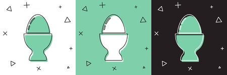 Set Easter egg on a stand icon isolated on white and green, black background. Happy Easter.  Vector Illustration