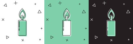 Set Burning candle icon isolated on white and green, black background. Cylindrical candle stick with burning flame. Vector Illustration