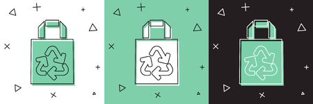 Set Paper shopping bag with recycle icon isolated on white and green, black background. Bag with recycling symbol.  Vector Illustration