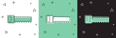 Set Hand saw icon isolated on white and green, black background.  Vector Illustration