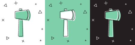 Set Wooden axe icon isolated on white and green, black background. Lumberjack axe.  Vector Illustration Ilustracja