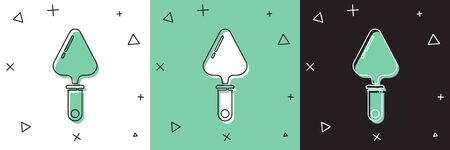 Set Trowel icon isolated on white and green, black background.  Vector Illustration