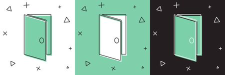Set Closed door icon isolated on white and green, black background.  Vector Illustration Ilustracja