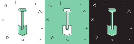 Set Shovel icon isolated on white and green, black background. Gardening tool. Tool for horticulture, agriculture, farming.  Vector Illustration