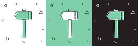 Set Hammer icon isolated on white and green, black background. Tool for repair.  Vector Illustration