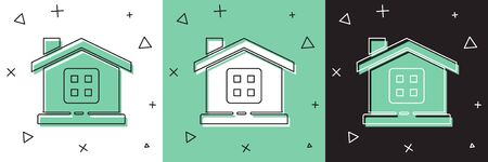 Set House icon isolated on white and green, black background. Home symbol. Vector Illustration