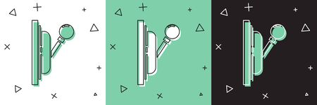 Set Electrical panel icon isolated on white and green, black background. Switch lever.  Vector Illustration