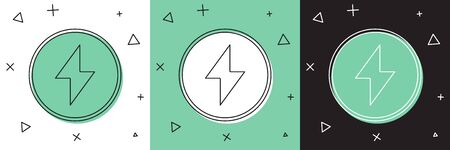 Set Lightning bolt icon isolated on white and green, black background. Flash sign. Charge flash icon. Thunder bolt. Lighting strike. Vector Illustration