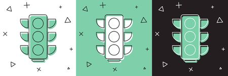 Set Traffic light icon isolated on white and green, black background. Vector Illustration Иллюстрация